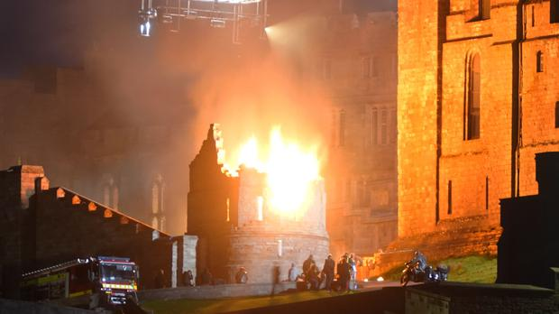 The set is ablaze as part of filming for the new Indiana Jones 5 movie starring Harrison Ford (Owen Humphreys/PA)