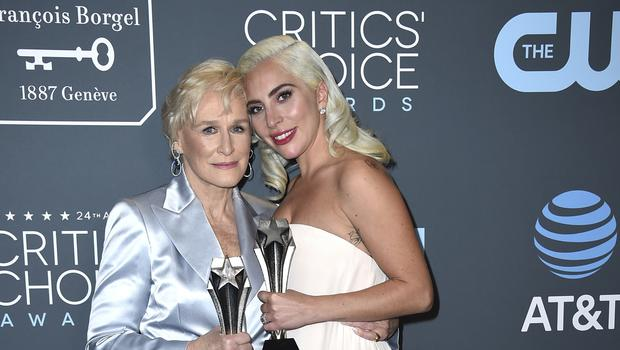 Lady Gaga broke down in tears as she shared the Critics' Choice Awards best actress prize with Glenn Close (Jordan Strauss/Invision/AP)