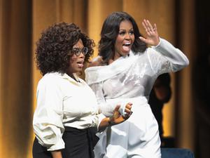 Michelle Obama with Oprah in Becoming