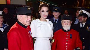 Angelina Jolie meets Chelsea Pensioners as she arrives for the UK premiere of the film, Unbroken in London