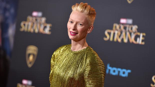 Tilda Swinton arrives at the Los Angeles premiere of Doctor Strange at the TCL Chinese Theatre (Jordan Strauss/Invision/AP)