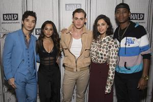 """Ludi Lin, from left, Becky G, Dacre Montgomery, Naomi Scott and RJ Cyler participate in the BUILD Speaker Series to discuss the new """"Power Rangers"""" film at AOL Studios on Monday, March 20, 2017, in New York. (Photo by Charles Sykes/Invision/AP)"""