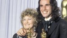 Irish actors Brenda Fricker and Daniel Day-Lewis with their Oscars in 1990 for My Left Foot, a film produced by Harvey Weinstein's company