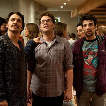 James Franco, Seth Rogen and Jay Baruchel in a scene from This Is The End