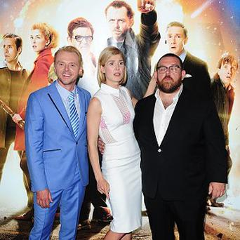 Simon Pegg, Rosamund Pike and Nick Frost arriving for the premiere of The World's End