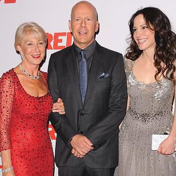Dame Helen Mirren, Bruce Willis and Mary-Louise Parker arriving at the UK Premiere of Red 2