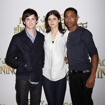 Logan Lerman, Alexandra Daddario and Brandon T Jackson ar back for the second Percy Jackson film