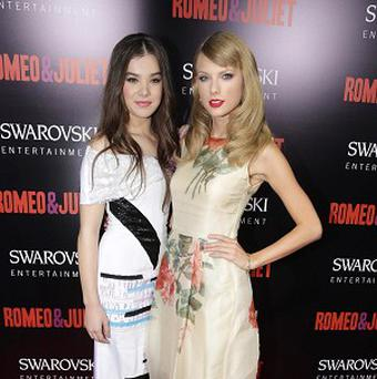 Hailee Steinfeld and Taylor Swift at the world premiere of Romeo And Juliet