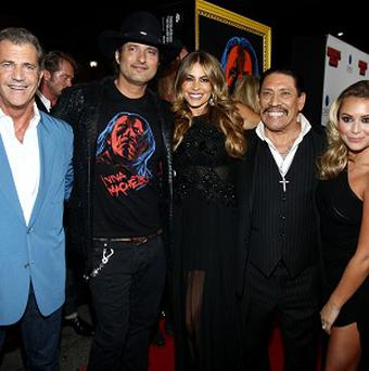 Mel Gibson, Robert Rodriguez, Sofia Vergara, Danny Trejo, and Alexa Vega pose at the premiere of Machete Kills