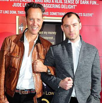 Richard E Grant and Jude Law at the screening of new film Dom Hemingway at the Curzon Mayfair cinema, London