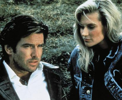 Taste of the 80s: Devilishly handsome Pierce Brosnan and Alison Doody in Taffin