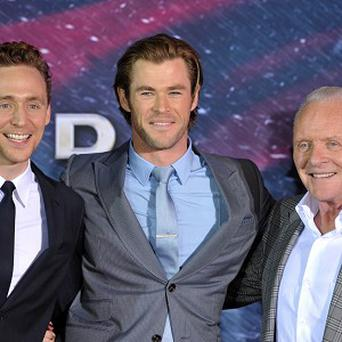 Tom Hiddleston, Chris Hemsworth and Sir Anthony Hopkins at the LA premiere of Thor: The Dark World