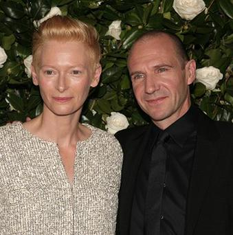 Tilda Swinton and Ralph Fiennes at the Museum of Modern Art Film Benefit in New York (AP)