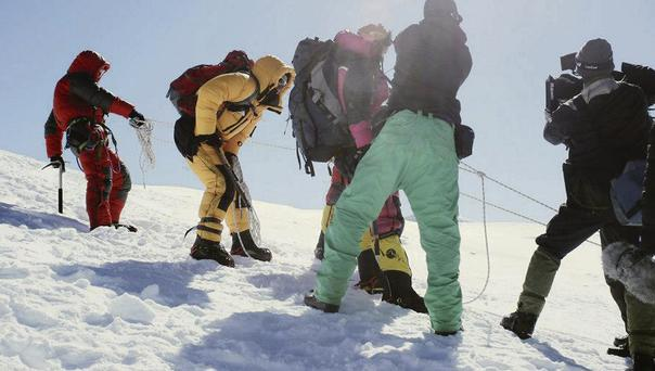 Filming a reconstruction of the tragic events of the K2 disaster, in which 11 mountaineers died