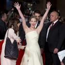 Jennifer Lawrence's co-stars joked that they can't look the actress in the eye