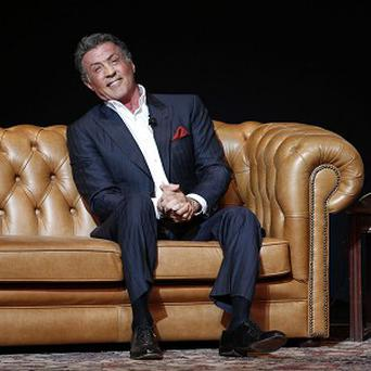 Sylvester Stallone onstage at the London Palladium