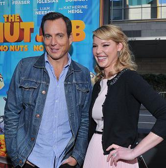 Actors Will Arnett and Katherine Heigl attend the premiere of the animated film The Nut Job in Los Angeles (AP)