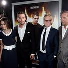 Keira Knightley, Chris Pine, Kenneth Branagh, and Kevin Costner at the premiere of Jack Ryan: Shadow Recruit in Los Angeles