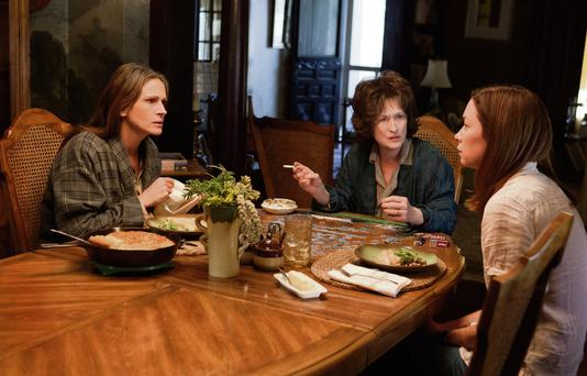 FAMILY MISFORTUNES: Julia Roberts, Meryl Streep and Julianne Nicholson lead an ensemble cast in 'August: Osage County'
