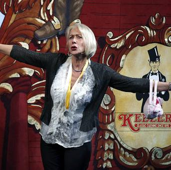 Helen Mirren during her roast as woman of the year by Harvard University's Hasty Pudding Theatricals in Cambridge, Massachusetts