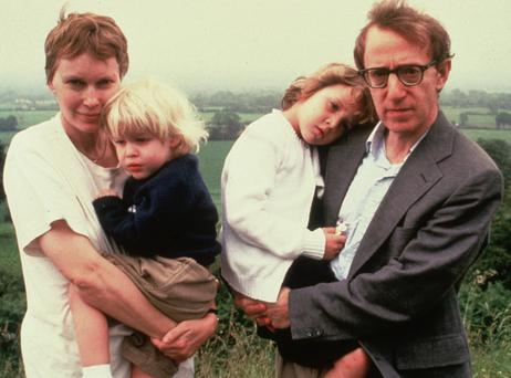 Betrayal and break-up: Mia Farrow and Woody Allen with children Satchel and Dylan on holiday in Ireland in 1991. Photo: Getty Images