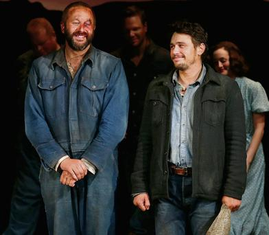 Chris O'Dowd (left) and James Franco at the 'Of Mice and Men' Broadway preview.