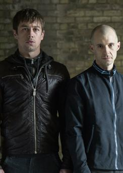 Killian Scott (left) in Love/Hate alonside Nidge (Tom Vaughan-Lawlor)
