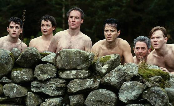 Andrew Scott, third from right, in 'The Stag'