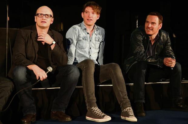 Director Lenny Abrahamson and actors Domhnall Gleeson and Michael Fassbender attend the 'Frank' screening during the Sundance London Film