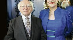Michael D Higgins and Peter O'Toole's daughter Kate at a celebration of the actor's life at the Old Vic, London
