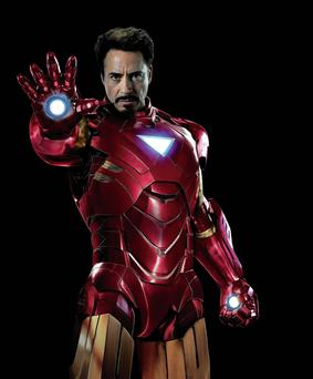 Robert Downey Junior as Iron Man in the movie adaptation