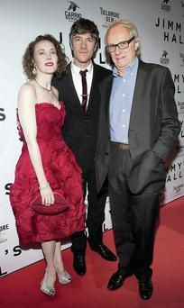 Actress Simone Kirby and actor Barry Ward with director Ken Loach at the Irish premier of Jimmy's Hall at the Lighthouse Cinema.