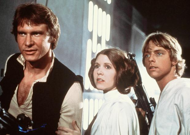 Starring roles: Harrison Ford, Carrie Fisher and Mark Hamill in Star Wars in 1977.