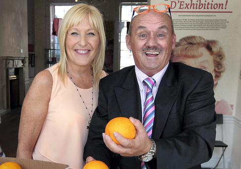 WORKING AS A TEAM: Brendan O'Carroll and his wife Jennifer pictured at the opening of 'Mrs Brown D'Exhibition' at The Little Museum of Dublin. Photo: Brian McEvoy