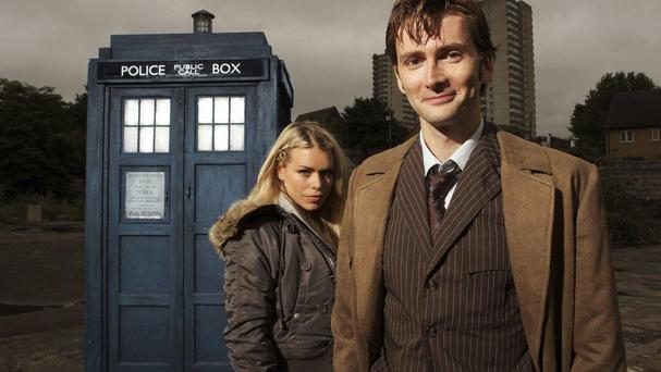 David Tennant as Dr Who with assistant Rose Tyler, played by Billie Piper