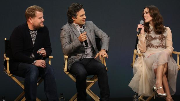 James Corden stars in Begin Again with Mark Ruffalo and Keira Knightley