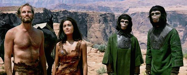 Classic: Charlton Heston and Linda Harrison in the original Planet of the Apes film