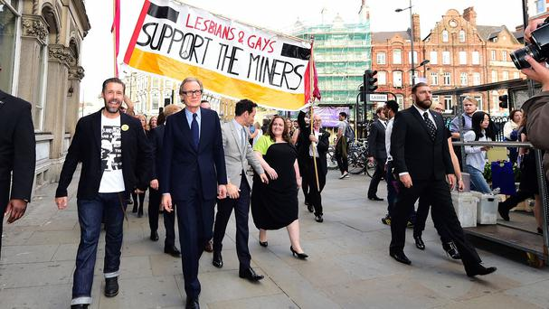 Paddy Considine and Bill Nighy walking the streets of Camden to promote new film Pride in London.