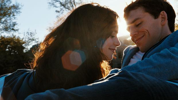 Lily Collins and Sam Claflin in Love, Rosie.
