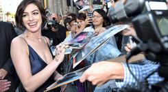 Anne Hathaway arrives at the Los Angeles Premiere