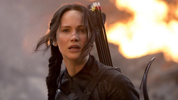 Jennifer Lawrence as Katniss in Mockingjay - Part 1