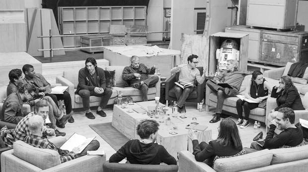 The cast of Star Wars: The Force Awakens have a read through
