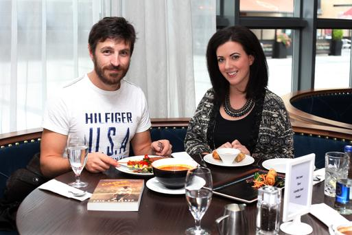 Homegrown Hollywood hunk: Eoin Macken with Deirdre Reynolds. Pic. Martin Maher.