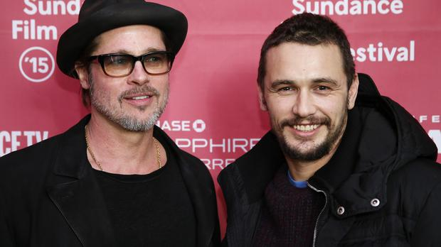 Brad Pitt and James Franco at the premiere of True Story during the 2015 Sundance Film Festival
