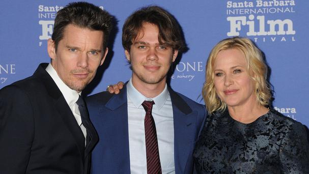 Ethan Hawke, Ellar Coltrane and Patricia Arquette at the Santa Barbara International Film Festival (Rex)