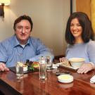 Break from rehearsals: Gary Lydon and Deirdre Reynolds enjoy lunch at The Inn On The Green at the Fitzwilliam Hotel in Dublin