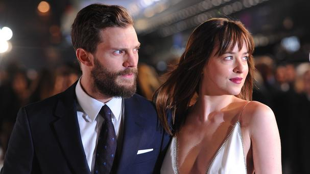 Jamie Dornan and Dakota Johnson attending the UK premiere of Fifty Shades of Grey at the Odeon Leicester Square, London