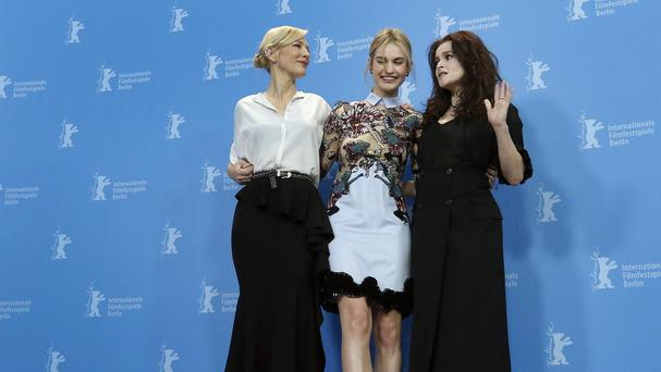 Cate Blanchett, Lily James and Helena Bonham Carter at the 2015 Berlinale Film Festival (AP)
