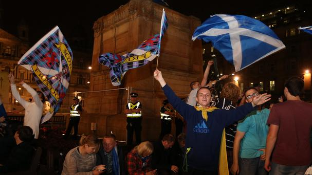 William McIlvanney visited George Square on the evening of the referendum vote for a documentary he is appearing in