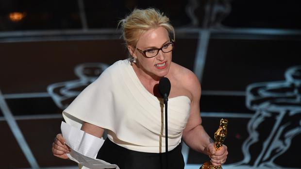 Patricia Arquette accepting the award for best supporting actress (AP)